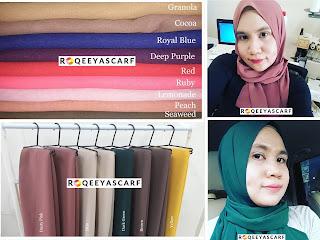 Plain shawl, kain chiffon, color shades, kepelbagaian warna, roqeeya scarf, qiya saad tailor, shawl by qiya saad,