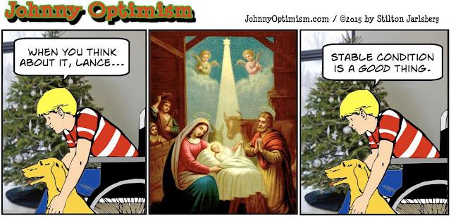 johnny optimism, medical, humor, sick, jokes, boy, wheelchair, doctors, hospital, stilton jarlsberg, christmas, christ, stable, stable condition