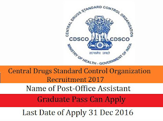 Central Drugs Standard Control Organization Recruitment 2017 For Office Assistant Post