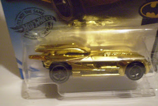 Close up of Hot Wheels 2020 Batmobile #3 gold