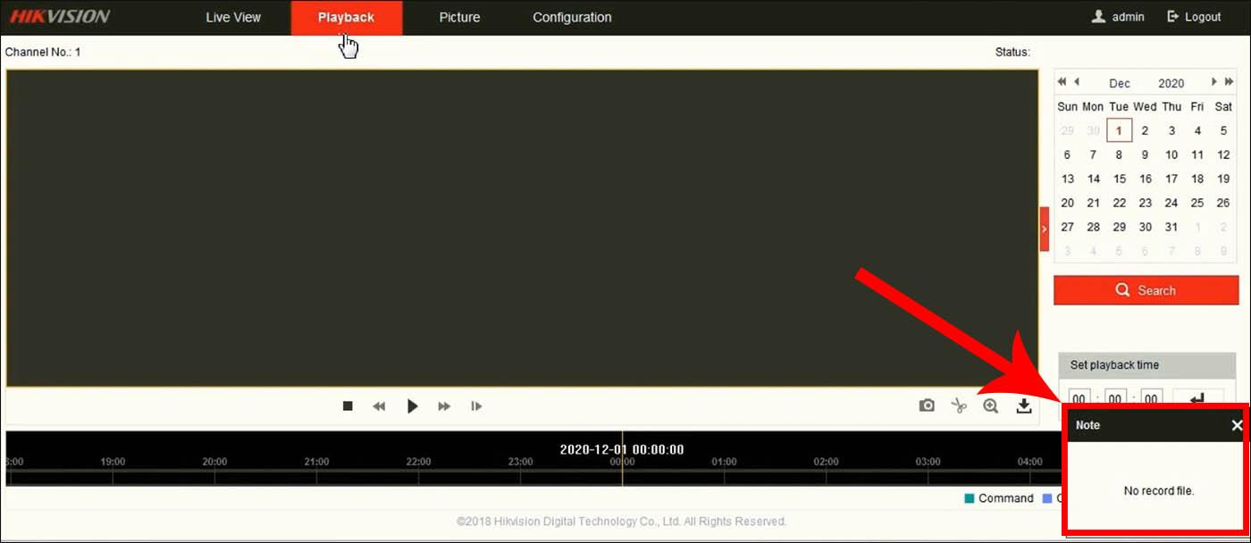 Воспроизведение hikvision не удалось, нет файлов записи