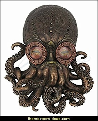 Steampunk Octopus Wall Plaque Sculpture Steampunk decorating ideas - Victorian Vintage antiques - steam punk Industrial style decorating ideas  - steampunk gears decor - Steampunk clothes - Steampunk Costumes -  Jules Verne  - Steampunk home decor - Steampunk lighting - Steampunk wall art - Victorian punk rock style creates the steampunk theme - Steampunk bedding