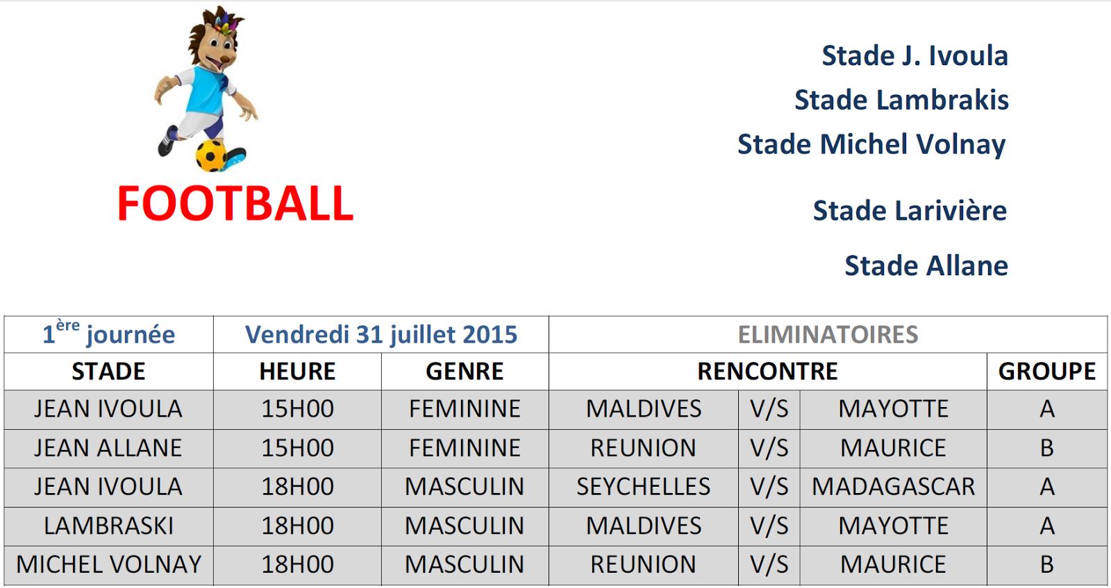 calendrier rencontre football