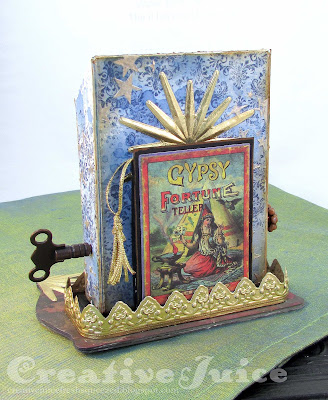 Lisa Hoel for Eileen Hull - new Ch 4 Sizzix Dies! The XL Post Box serves as the structure for my 'fortune telling machine'. #mymakingstory #sizzix #eileenhull #tim_holtz