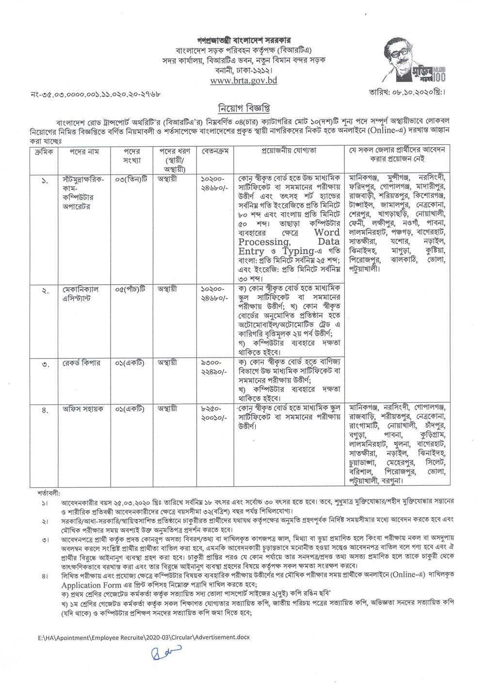 BRTA Jobs Circular Download