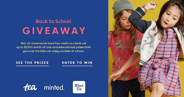 Tea, Minted and Kiwi Co want your kids to go back to school in style! Enter once for a chance at over $1400 in gift cards for all new fashions!