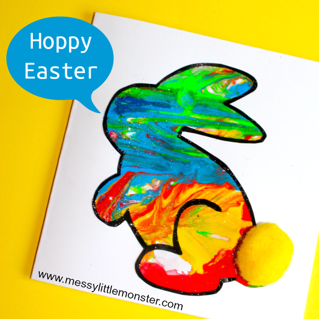 Easy bunny craft for preschoolers. Free printable bunny template.