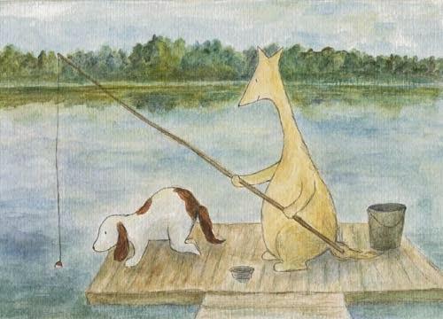 Postcard or poster illustration of Hulmu Hukka and Haukku Spaniel fishing on the wharf on the lakefront