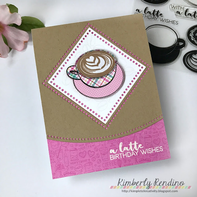 Coffee birthday card by Kimberly Rendino | Coffee Lovers Blog Hop | Lil' Inker Designs | cardmaking | papercraft