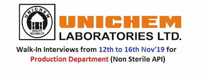 Unichem Laboratories - Walk-in interview for Production department on 12th - 16th November, 2019