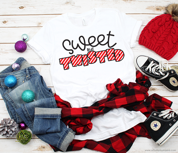 Sweet but Twisted Shirt with 16 Free Christmas Cut Files