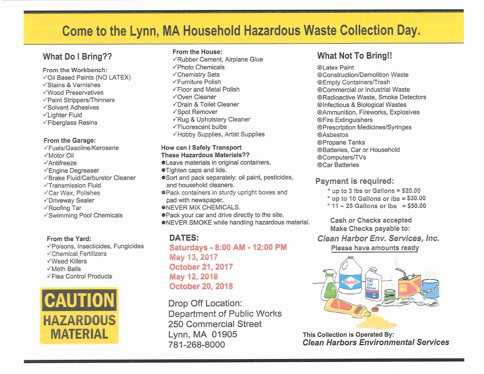 TrashTalkin Lynn Household Hazardous Waste Day is Saturday May 13