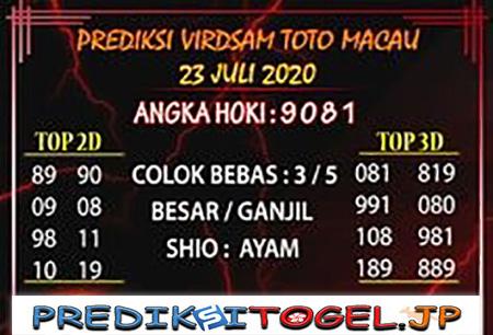 Prediksi Virdsam Toto Macau Kamis 23 Juli 2020
