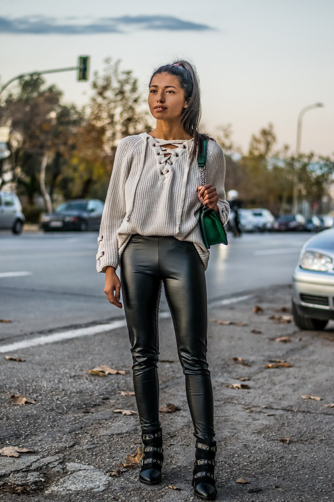 how to wear leather trousers in winter