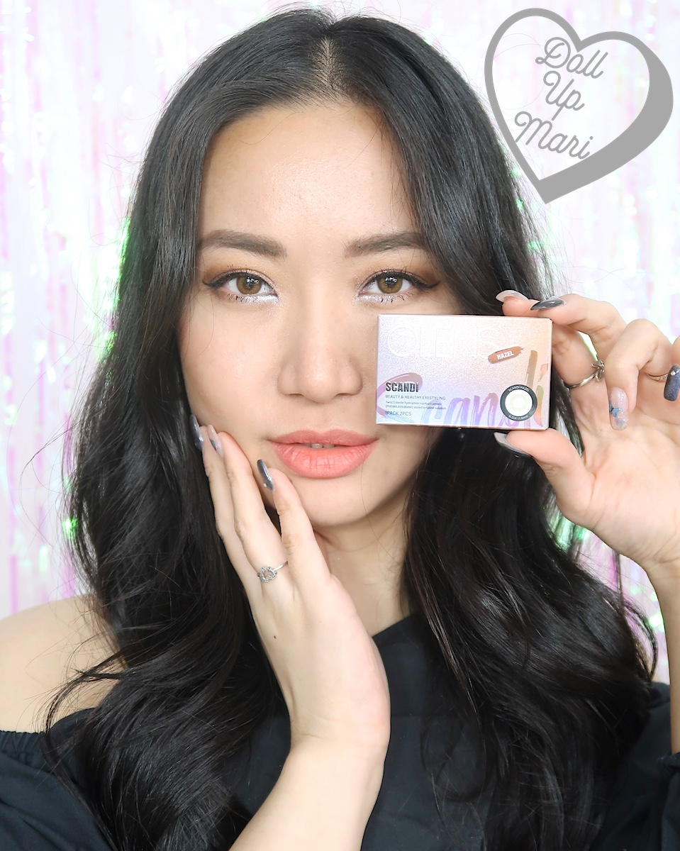 dollupmari wearing OLens Scandi Hazel BlackPink Contact Lenses