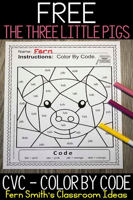 CVC Words -ab Family Short a Color By Code For Struggling Readers FREEBIE by Fern Smith's Classroom Ideas.