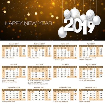 Kelender Desain Google 2019 Happy New Year
