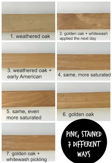 Pine stained in various combinations of weathered oak, early american, golden oak, and whitewash pickling stain