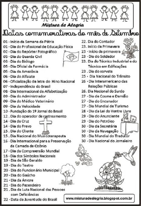 Calendario Datas Comemorativas Mes De Setembro