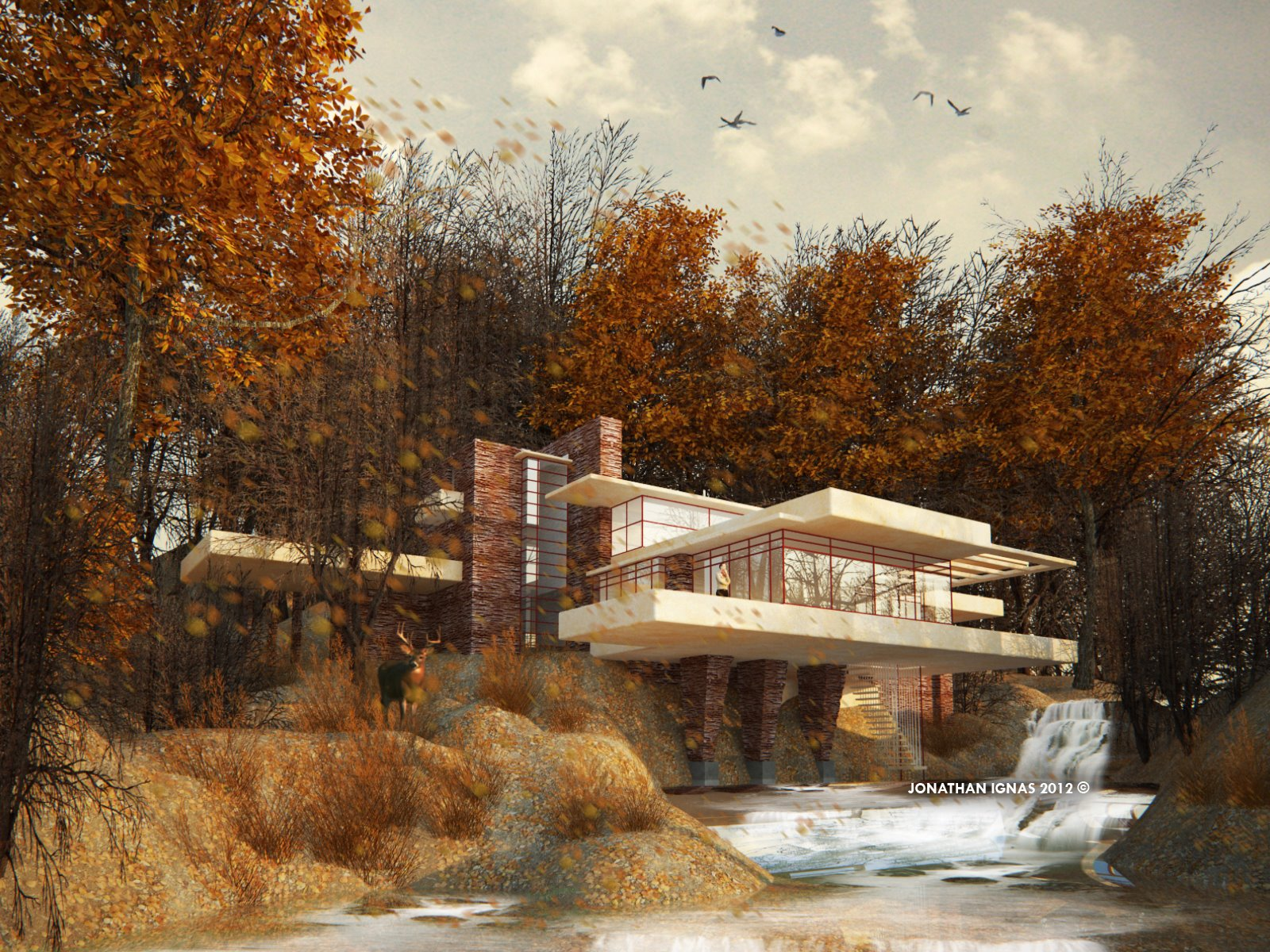 Falling Snow Desktop Wallpaper Designanthology The Falling Water House By Frank Lloyd Wright
