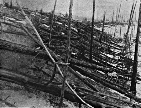 Trees felled by the Tunguska explosion, Siberian forest, Russia, June, 1917 | Photo by Leonid Kulik Expedition, courtesy of NASA, St. George News