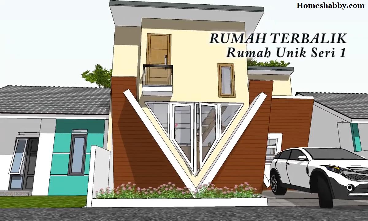 Rumah Unik Desain Dan Denah Rumah Terbalik 8 X 14 M2 Lengkap Dengan Mezzanine Homeshabby Com Design Home Plans Home Decorating And Interior Design