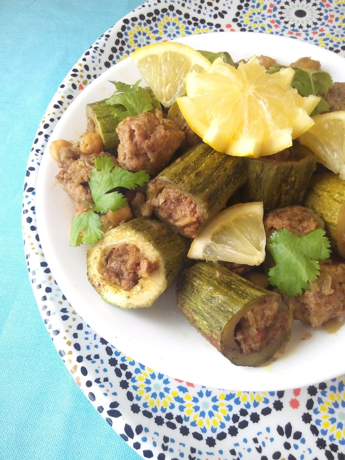 The teal tadjine north african inspired family traditions halal algerian style stuffed courgetteszucchini dolma qara forumfinder Images