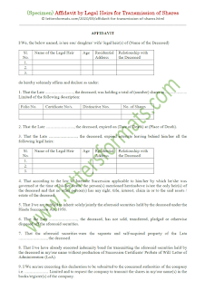 affidavit by legal heirs of a deceased shareholder for transmission of shares