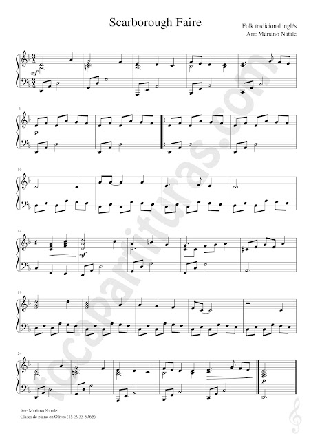 Partitura Fácil de La Feria de Scarborough Faire Easy Sheet Music for Pianists beginners Scarborough Faire Traditional English Folk Free download