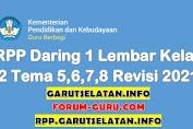RPP Daring 1 Lembar Kelas 2 SD/MI Tema 5,6,7,8 Revisi 2021