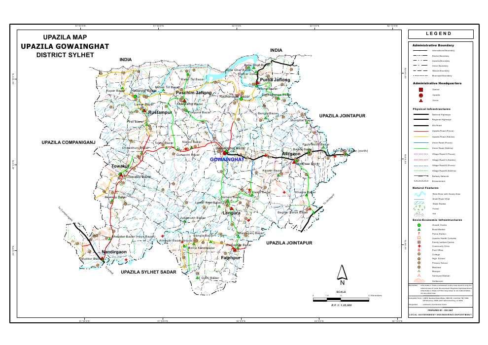 Gowainghat Upazila Map Sylhet District Bangladesh