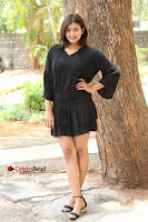 Actress Hebah Patel Stills in Black Mini Dress at Angel Movie Teaser Launch  0083.JPG