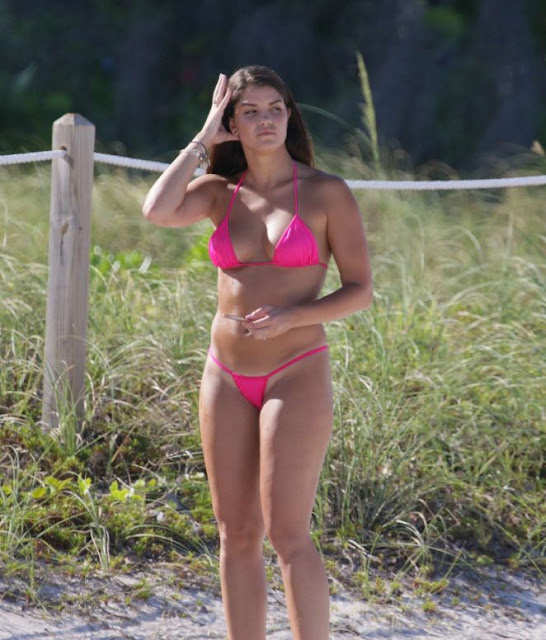 Natasha Canavarro in Pink Bikini on Miami Beach