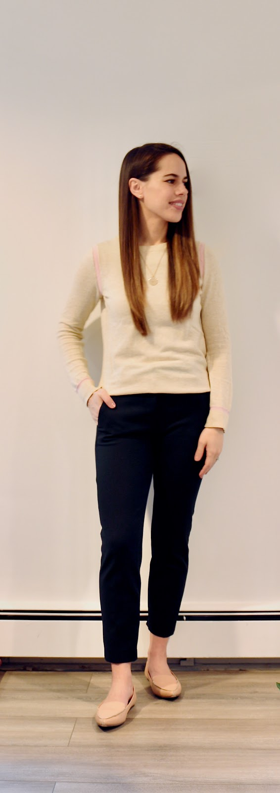 Jules in Flats - Gap Beige Sweater with Pink Accents (Business Casual Winter Workwear on a Budget)