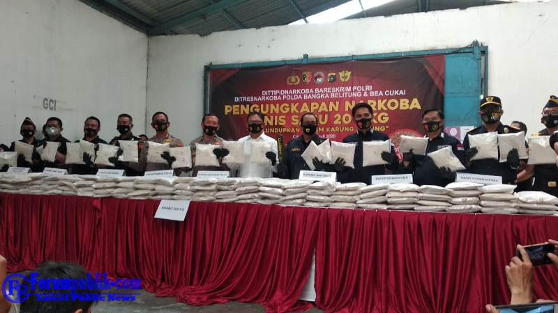 Bareskrim Polri Bersama Ditjen Bea Cukai dan Polda Babel Ungkap Penyelundupan 200 Kg Sabu