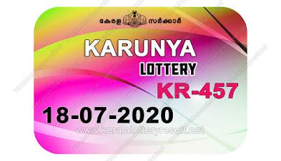 Kerala Lottery Result 18.07.20 Karunya KR-457 Lottery Result