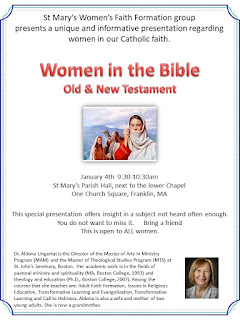 St Mary's Women's Faith Formation: Women in the Bible - Old and New Testament - Jan 4, 2020