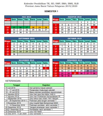Download Kaldik Kalender Pendidikan Jawa Barat Tahun Pelajaran 2019/ 2020