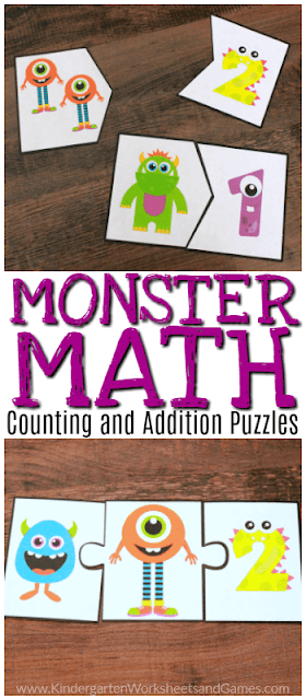 FREE Monster Math Activity - practice counting to 10 or addition with sum to 10 with these super cute and free printable math puzzles. These are perfect for summer learning, math centers, homeschool for preschool, prek, and kindergarten age children! #math #prek #kindergarten