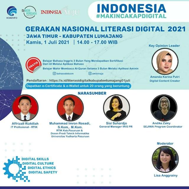Yuk Ikuti Webinar Gerakan Literasi Digital Nasional 2021 - Kementrian Kominfo - Jawa Timur - Lumajang