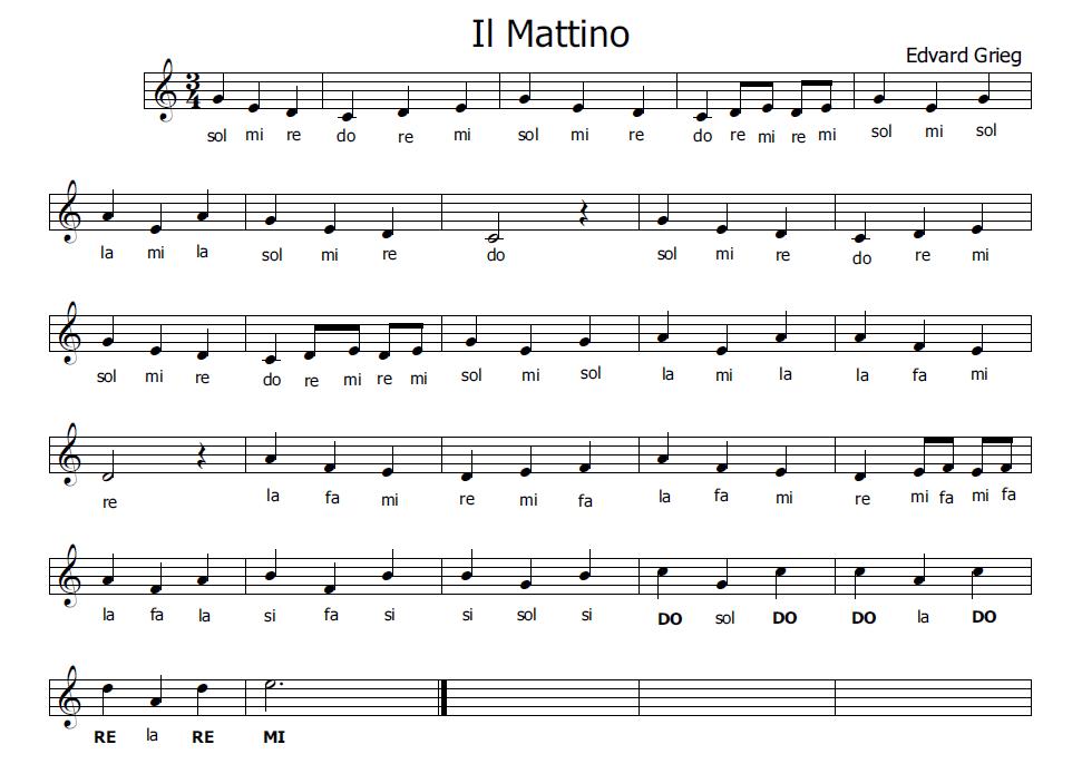 Molto Musica e spartiti gratis per flauto dolce: Il Mattino di Grieg per  VC17