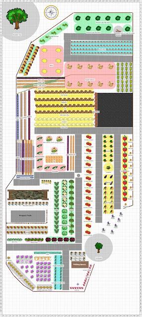 Full garden plan including rows of dozens of crops