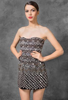 Manish malhotra dresses Midnight Black velvet strapes dress front side