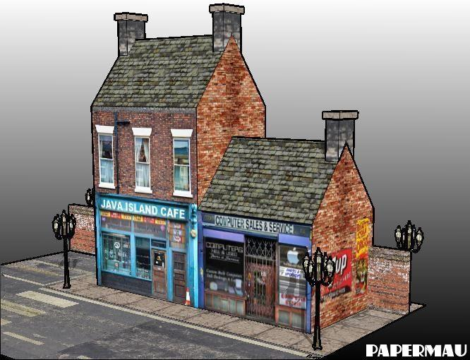 Three Simple Shops For Dioramas, RPG And Wargames - PaperModelers com
