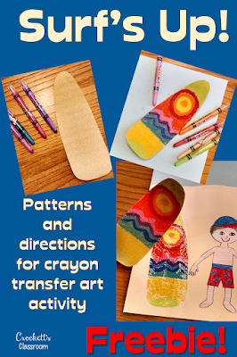 Craft activity to send kids surfing into the summer!  Great fun for the last week of school.  This theme would also work well at the beginning of the school year. Check out the cool heat transfer technique for the surfboards!