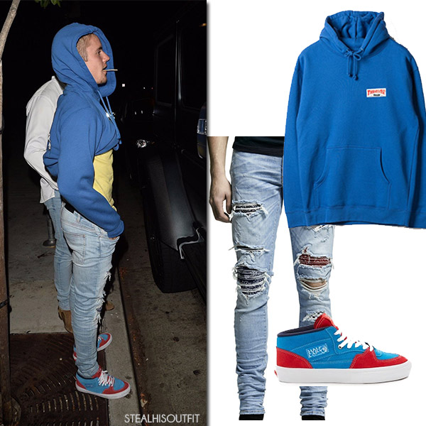 Justin Bieber in blue hoodie and ripped jeans amiri mens fashion steal his outfit