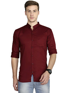 Chinese Mandarin Collar Shirt For Men - Blue