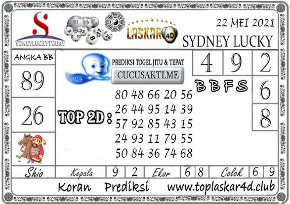 Prediksi Togel Sydney Lucky Today LASKAR4D 22 MEI 2021