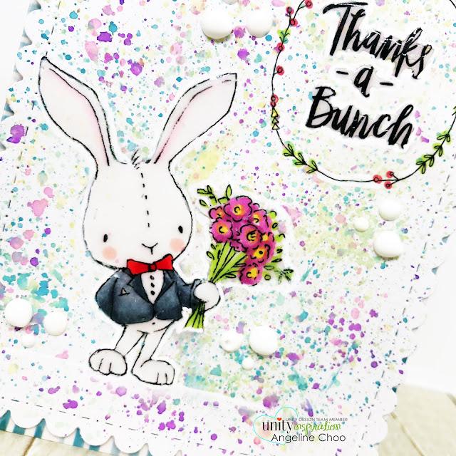 ScrappyScrappy: Unity Stamp Lisa Glanz - Tuxedo Bunny #scrappyscrappy #unitystampco #lisaglanz #youtube #quicktipvideo #cardmaking #papercraft #stamp #stamping #copicmarkers #timholtz #distressoxide #nuvocrystalglaze #nuvodrop #watercolor #rainbow #tuxedobunny