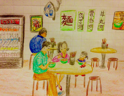wonton noodles shop in hongkong drawing family motherhood
